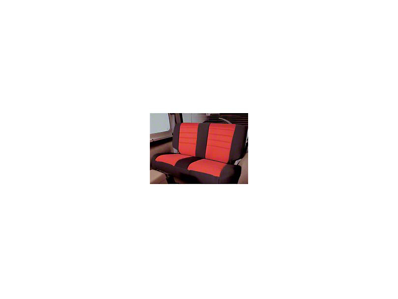 Smittybilt Neoprene Rear Seat Cover; Black/Red (2007 Jeep Wrangler JK 4 Door)