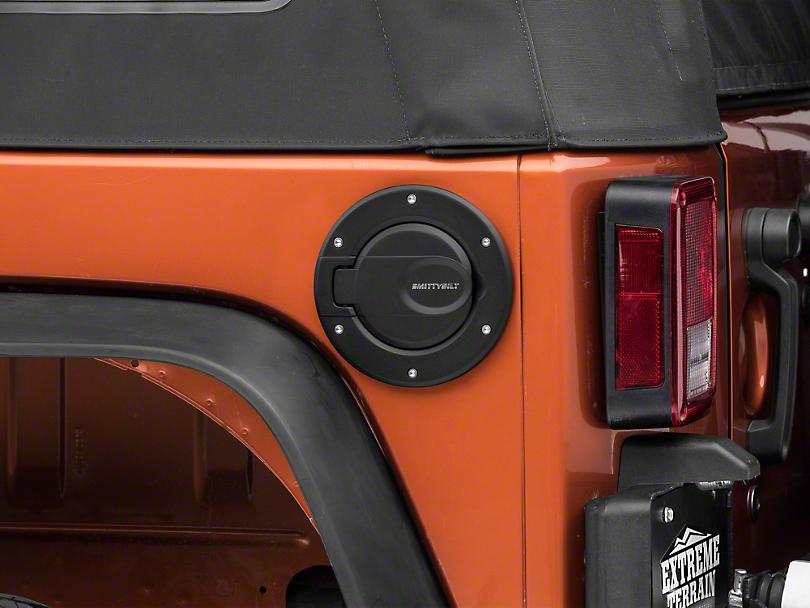 Smittybilt Billet Style Gas Cover - Textured Black (07-18 Jeep Wrangler JK)