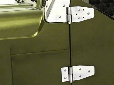 Smittybilt Door Hinges - Stainless Steel - Set of 4 - For Half Steel Doors (87-06 Jeep Wrangler YJ & TJ)
