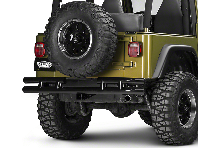 Smittybilt Tubular Rear Bumper w/ Hitch - Gloss Black (87-06 Wrangler YJ & TJ)