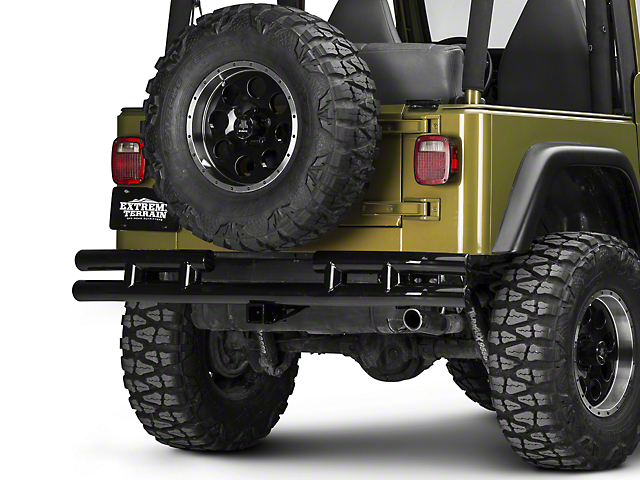 Smittybilt Tubular Rear Bumper with Hitch; Gloss Black (87-06 Jeep Wrangler YJ & TJ)