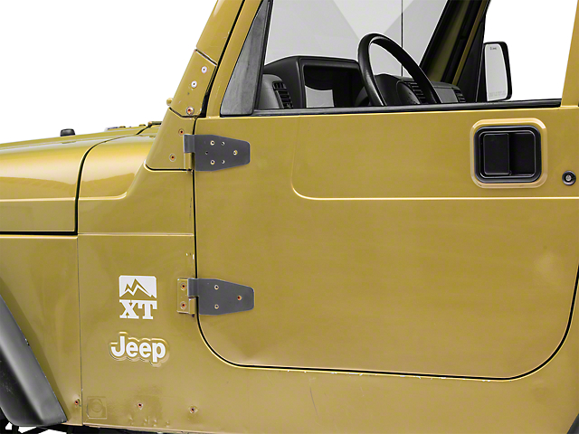 Smittybilt Half/Full Door Hinges; Black (87-06 Jeep Wrangler YJ & TJ w/ Half Steel Doors; 00-06 Jeep Wrangler TJ w/ Full Steel Doors)