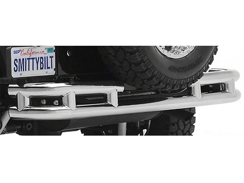 Smittybilt Tubular Rear Bumper w/ Hitch - Stainless Steel (87-06 Jeep Wrangler YJ & TJ)