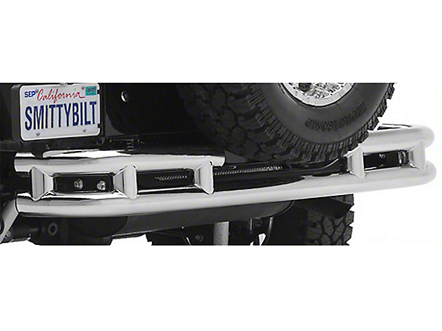 Smittybilt Tubular Rear Bumper with Hitch; Stainless Steel (87-06 Jeep Wrangler YJ & TJ)