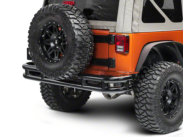 Smittybilt Tubular Rear Bumper without Hitch; Gloss Black (07-18 Jeep Wrangler JK)