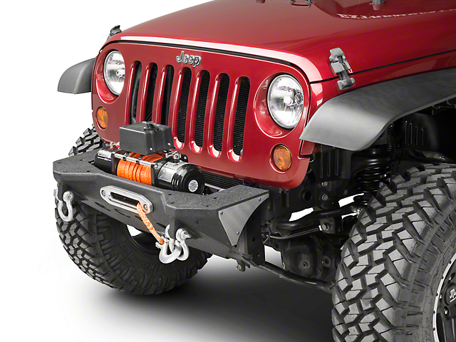 Smittybilt XRC M.O.D. Center Section Stubby Front Bumper with Winch Plate; Black Textured (07-18 Jeep Wrangler JK)