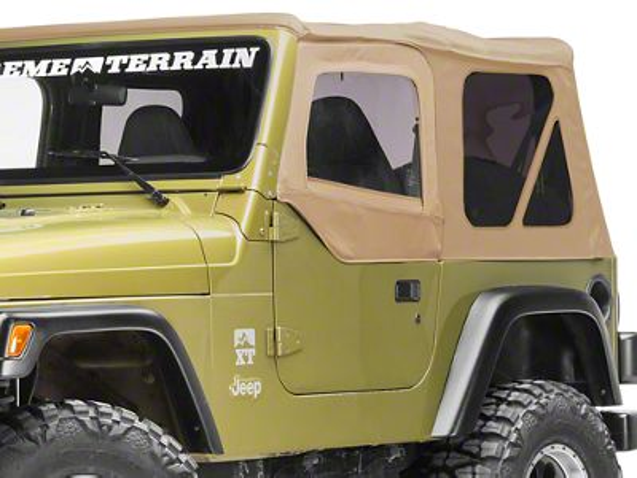 Smittybilt Soft Top Door Skin w/ Frame & Clear Windows - Driver Side - Spice Denim (97-06 Jeep Wrangler TJ)