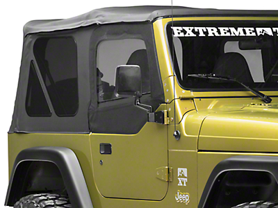 Smittybilt Soft Top Door Skin w/ Frame & Clear Windows - Passenger Side - Black Denim (97-06 Jeep Wrangler TJ)