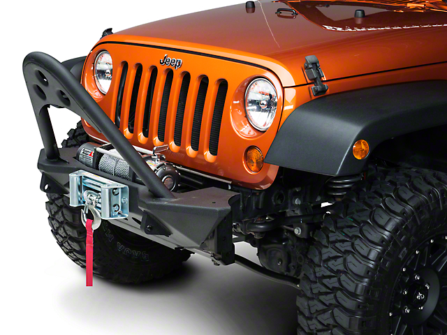 Smittybilt SRC Front Stinger with Winch Plate; Textured Black (07-18 Jeep Wrangler JK)