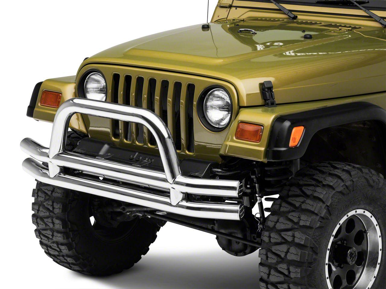 Add Smittybilt Tubular Front Bumper w/ Hoop, Stainless Steel (87-06 Wrangler YJ & TJ)