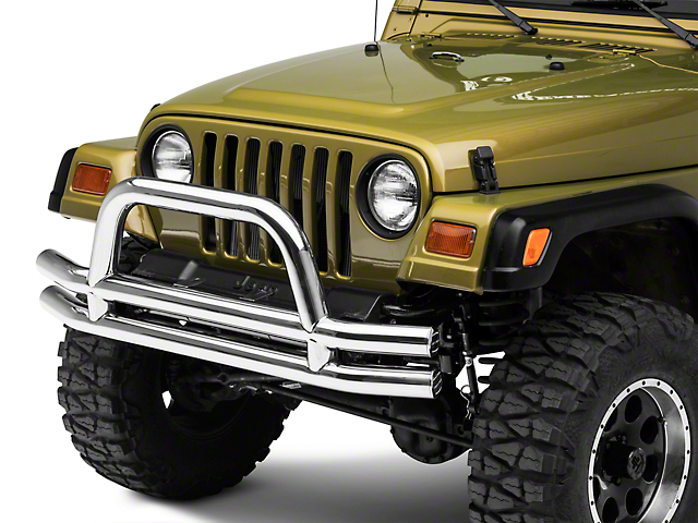 Smittybilt Tubular Front Bumper with Hoop; Stainless Steel (87-06 Jeep Wrangler YJ & TJ)