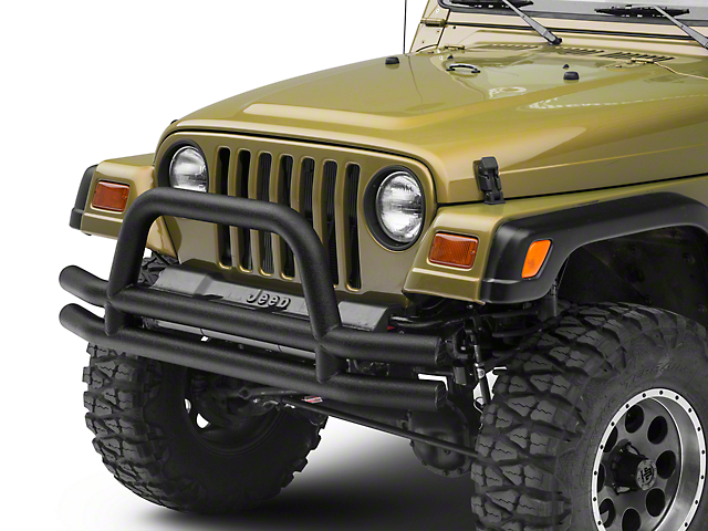 Smittybilt Tubular Front Bumper with Hoop; Textured Black (87-06 Jeep Wrangler YJ & TJ)