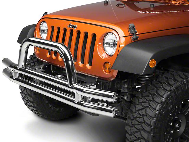 Smittybilt 3 in. Front Tubular Bumper w/ Hoop - Stainless Steel (07-18 Jeep Wrangler JK)