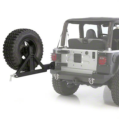 Smittybilt XRC Rear Swing Away Tire Carrier - Textured Black (87-06 Jeep Wrangler YJ & TJ)
