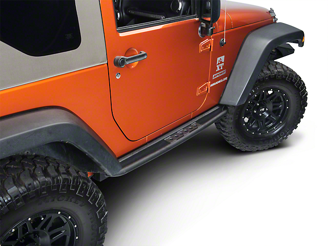 Smittybilt SRC Classic Rock Rails with Step; Textured Black (07-18 Jeep Wrangler JK 2 Door)
