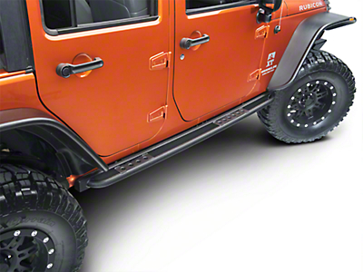 Smittybilt SRC Classic Rock Rails w/ Step - Textured Black (07-18 Wrangler JK 4 Door)