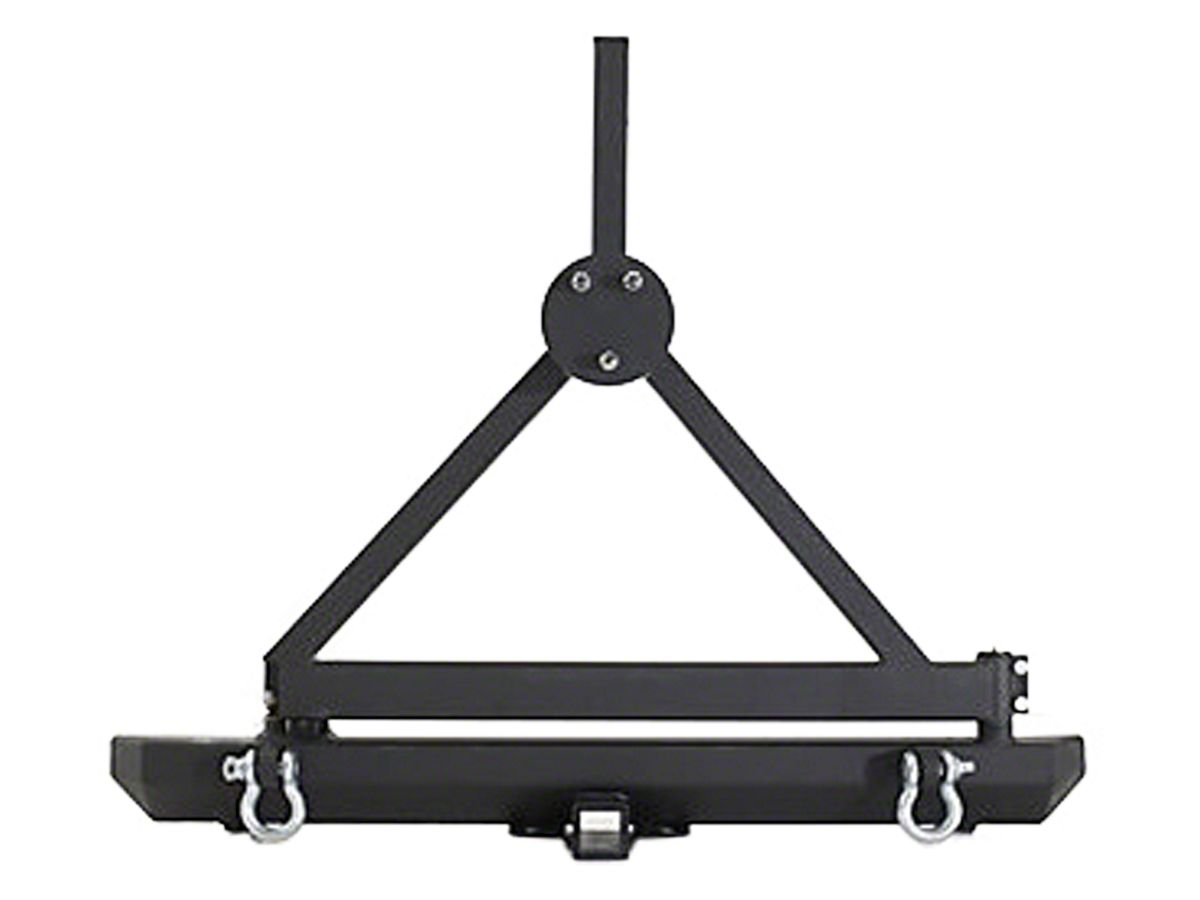Smittybilt 76651D SRC Classic Rear Bumper with D-Ring Mounts Hitch and Tire Carrier for 1976-2006 Jeep Wranglers