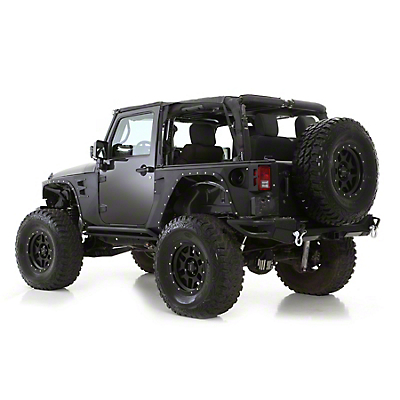 Smittybilt XRC Rear Corner Guards - Black Textured (07-17 Wrangler JK 2 Door)
