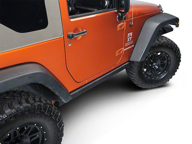 Smittybilt SRC Classic OEM Style Rock Rails; Black Textured (07-18 Jeep Wrangler JK 2 Door)