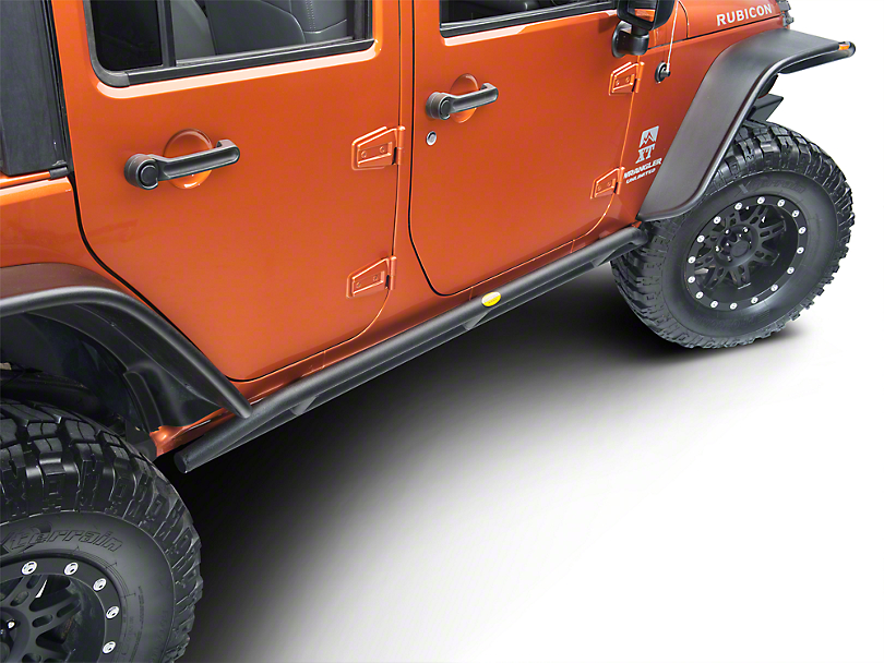Smittybilt SRC Rocker Guards - Black Textured (07-18 Jeep Wrangler JK 4 Door)