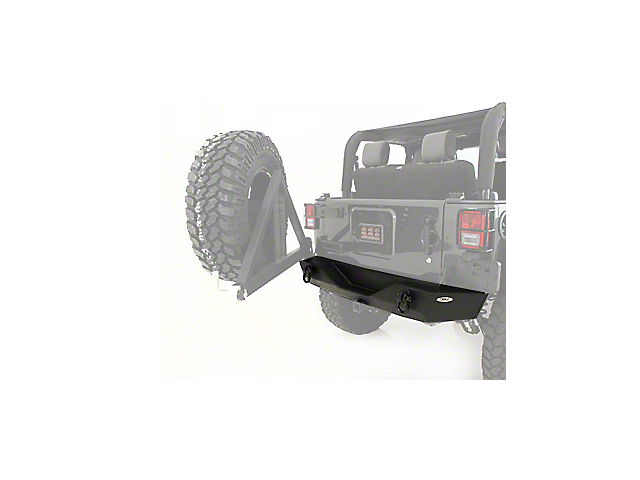 Smittybilt XRC Rear Bumper with Hitch; Textured Black (07-18 Jeep Wrangler JK)
