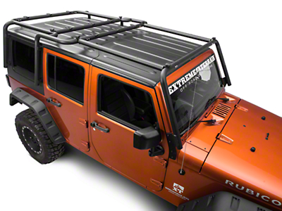 Off Camber Fabrications by MBRP Front Roof Rack Extension - Black Coated (07-18 Wrangler JK 4 Door)