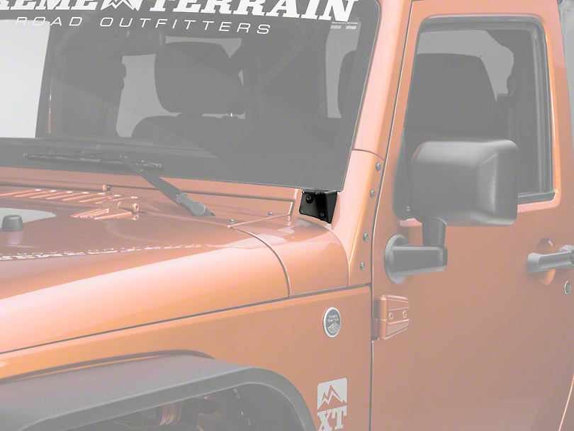 Off Camber Fabrications by MBRP Windshield Hinge Mounting Brackets - Textured Black (07-18 Jeep Wrangler JK)