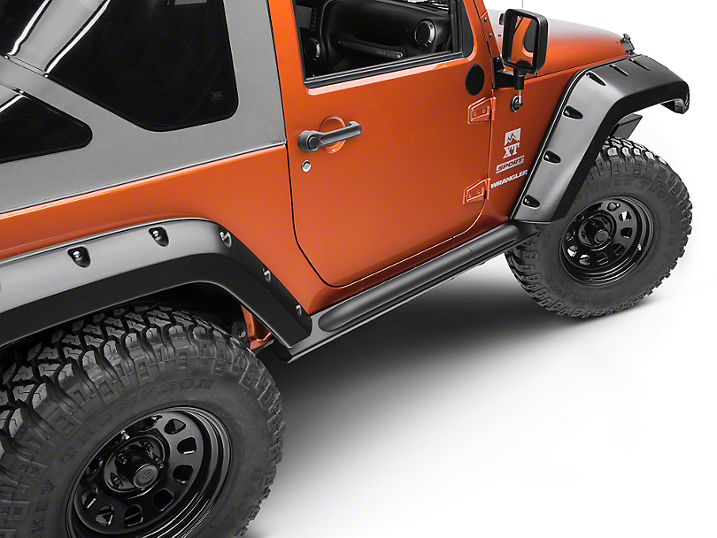Off Camber Fabrications by MBRP Rock Rail Kit - Black Coated (07-18 Wrangler JK 2 Door)