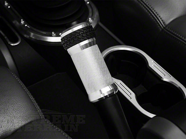 DV8 Offroad E-Brake Handle Cover; Brushed Finish (07-10 Jeep Wrangler JK)