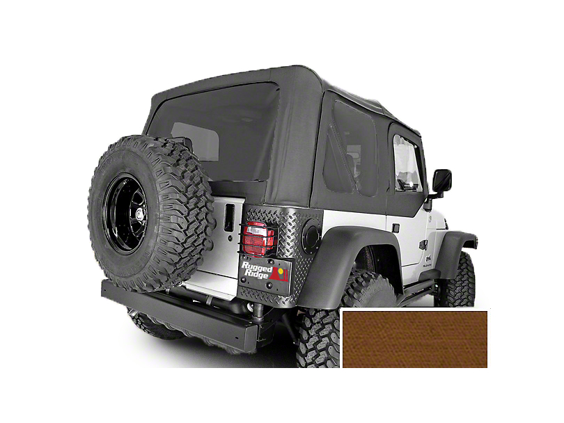 Rugged Ridge XHD Replacement Soft Top w/ Tinted Windows & Door Skins - Dark Tan (97-02 Jeep Wrangler TJ w/ Factory Soft Top)
