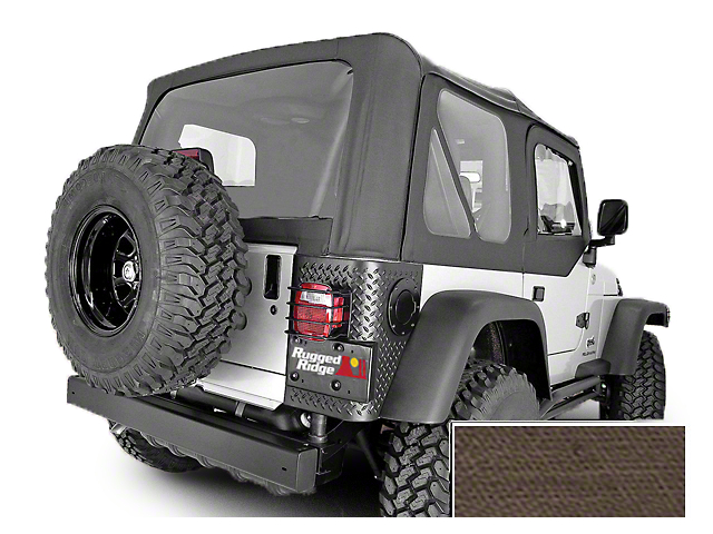 Rugged Ridge Soft Top w/ Clear Windows & Door Skins - Khaki Diamond (03-06 Jeep Wrangler TJ w/ Factory Soft Top, Excluding Unlimited)