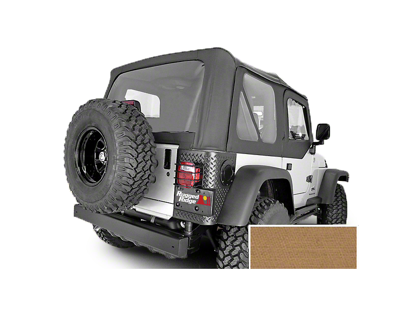 Rugged Ridge Soft Top w/ Clear Windows & No Door Skins - Spice (97-02 Jeep Wrangler TJ w/ Factory Soft Top)