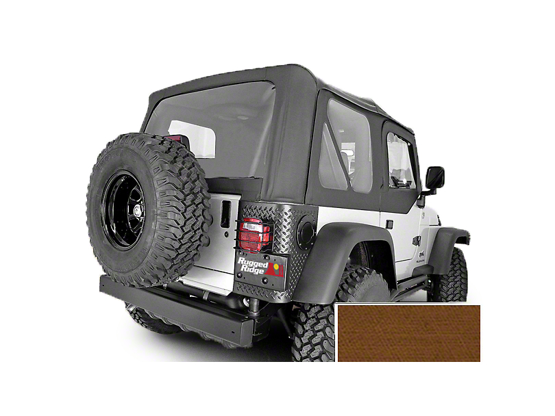 Rugged Ridge Replacement Soft Top with Clear Windows and Door Skins; Dark Tan (97-02 Jeep Wrangler TJ)