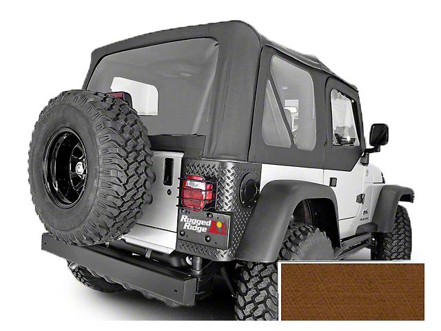 Rugged Ridge Soft Top w/ Clear Windows & Door Skins - Dark Tan (97-02 Jeep Wrangler TJ w/ Factory Soft Top)