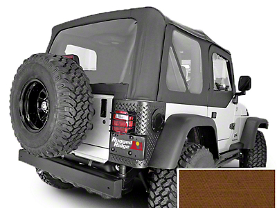 Rugged Ridge Soft Top w/ Clear Windows & Door Skins - Dark Tan (97-02 Jeep Wrangler TJ w/ Factory Soft Top)