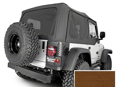 Rugged Ridge Soft Top w/ Tinted Windows & w/o Door Skins - Dark Tan (97-02 Wrangler TJ w/ Factory Soft Top)