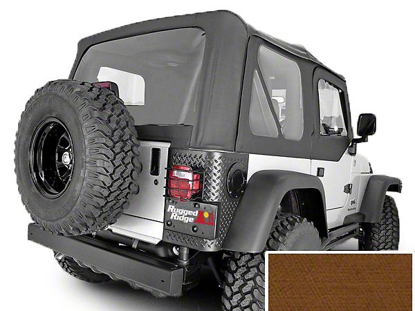 Rugged Ridge XHD Replacement Soft Top w/ Door Skins & Clear Windows - Dark Tan (97-02 Jeep Wrangler TJ w/ Factory Soft Top)