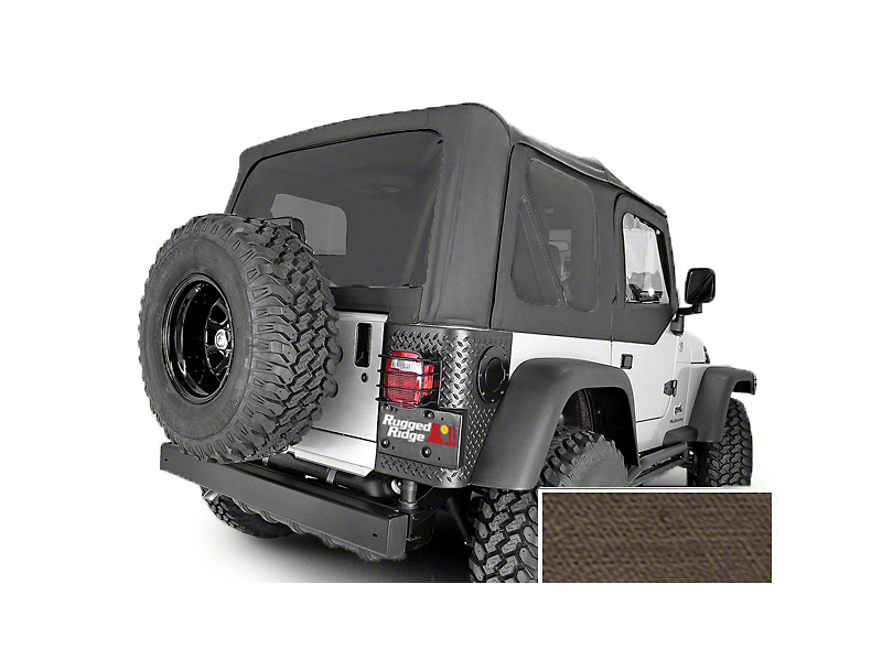Rugged Ridge XHD Replacement Soft Top w/ Tinted Windows & No Door Skins - Khaki Diamond (03-06 Jeep Wrangler TJ w/ Factory Soft Top, Excluding Unlimited)