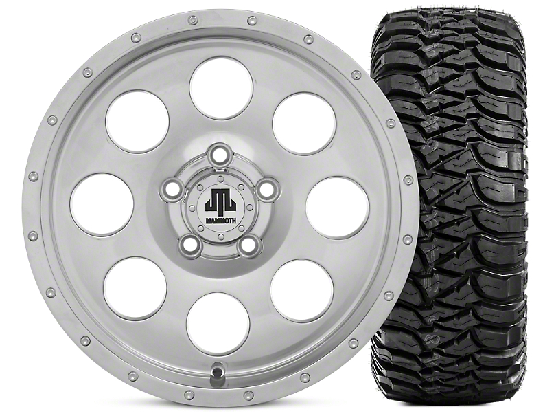 Mammoth 8 Beadlock Style Polished 15x8 Wheel and Mickey Thompson Baja MTZ 33X12.50R15 Tire Kit (87-06 Jeep Wrangler YJ & TJ)