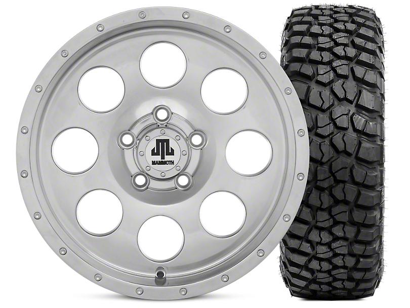 Mammoth 8 Beadlock Style Polished 15x8 Wheel & BFG KM2 33x10.5- 15 Tire Kit (87-06 Jeep Wrangler YJ & TJ)