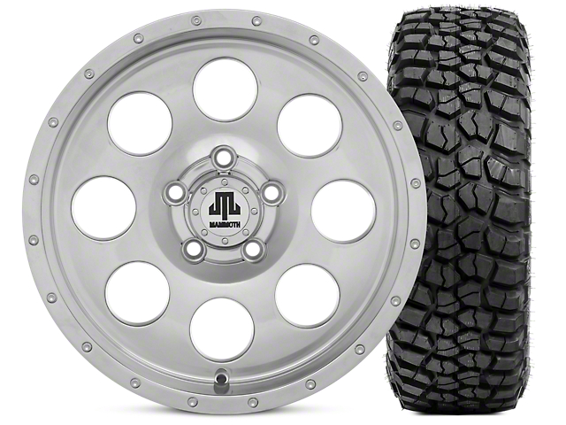Mammoth 8 Beadlock Style Polished 15x8 Wheel & BFG KM2 33x10.5- 15 Tire Kit (87-06 Jeep Wrangler YJ & TJ)