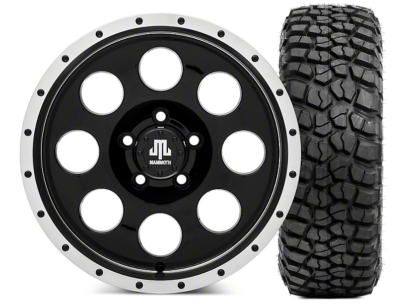 Mammoth 8 Beadlock 16x8 Wheel & BF Goodrich KM2 315/75R16 Tire Kit (87-06 Jeep Wrangler YJ & TJ)