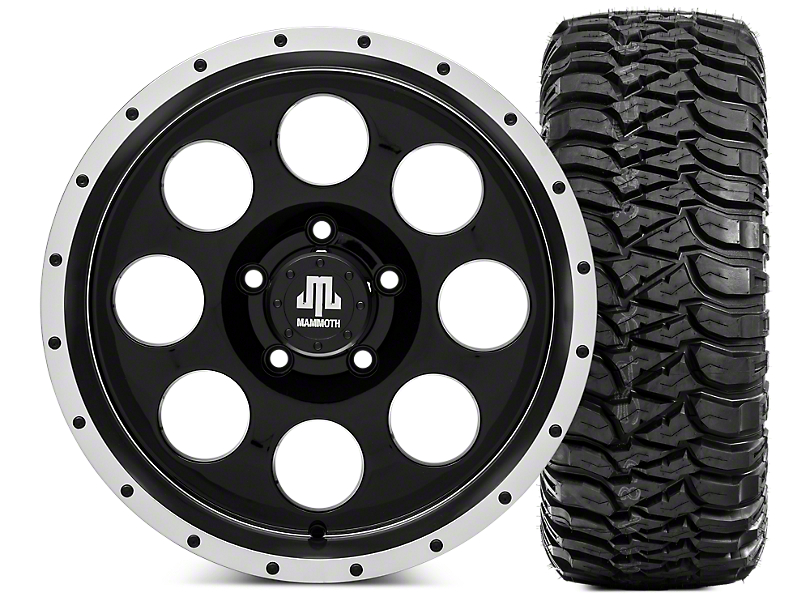 Mammoth 8 Beadlock Wheel - 17x9 & Mickey Thompson Baja MTZ 305/70R17 Tire Kit (07-18 Jeep Wrangler JK)