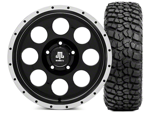 Mammoth 8 Beadlock 17x9 Wheel & BF Goodrich KM2 305/70R17 Tire Kit (07-18 Jeep Wrangler JK)
