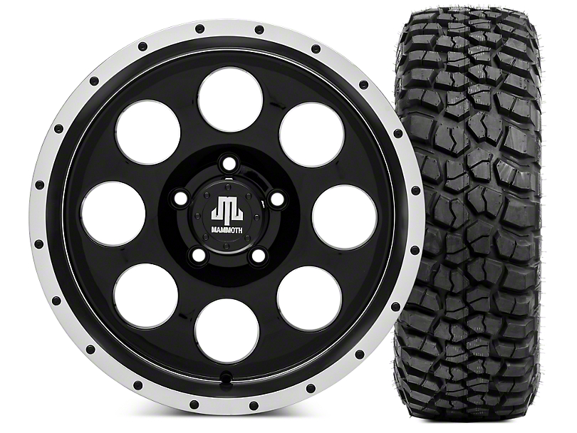 Mammoth 8 Beadlock 17x9 Wheel & BF Goodrich KM2 35x12.50R17 Tire Kit (07-18 Jeep Wrangler JK)