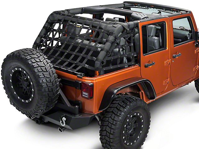 Dirty Dog 4x4 3-Piece Rear Netting Kit - Black (07-18 Jeep Wrangler JK 4 Door)