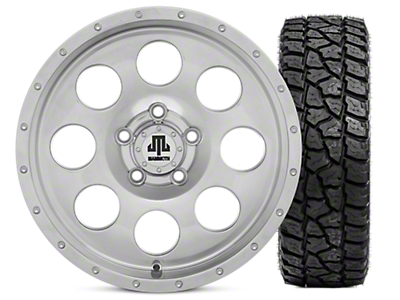 Mammoth 8 Beadlock Style Polished 15x8 Wheel & Mickey Thompson Baja ATZP3 33X12.50R15LT Tire Kit (87-06 Jeep Wrangler YJ & TJ)