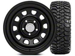 Mammoth D Window Steel 15x8 Wheel and Mickey Thompson Baja MTZ 33X12.50R15 Tire Kit (87-06 Jeep Wrangler YJ & TJ)