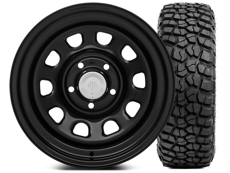 Mammoth D Window Steel 15x8 Wheel & BFG KM2 33x10.5- 15 Tire Kit (87-06 Wrangler YJ & TJ)