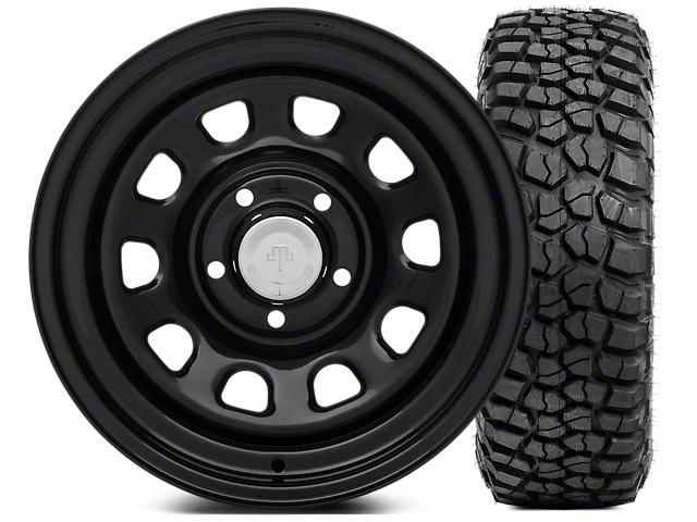 Mammoth D Window Steel 15x8 Wheel & BFG KM2 35x12.5- 15 Tire Kit (87-06 Jeep Wrangler YJ & TJ)
